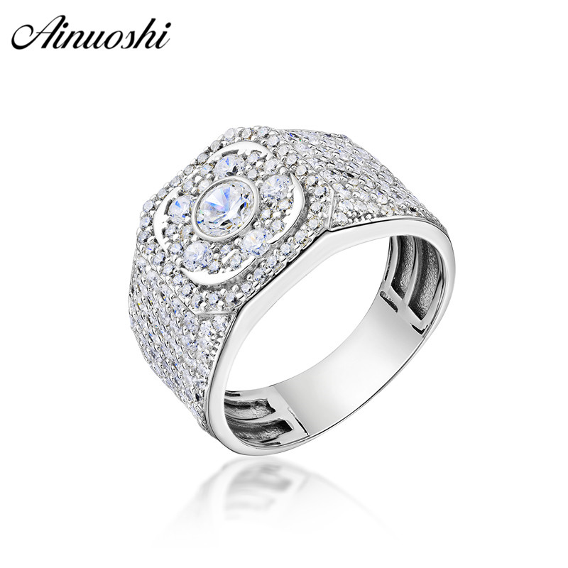 AINOUSHI 925 Sterling Silver Men Wedding Engagement Round Halo Rings Male Silver Anniversary Rings Party Jewelry hombre suena AINOUSHI 925 Sterling Silver Men Wedding Engagement Round Halo Rings Male Silver Anniversary Rings Party Jewelry hombre suena