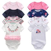 8 adet/grup Unisex Kız Bebek Giyim Bodysuits Bebek Kız Giysileri Unicorn Erkek Bebek Giysileri Kız Dressn Pamuk Roupas de bebe