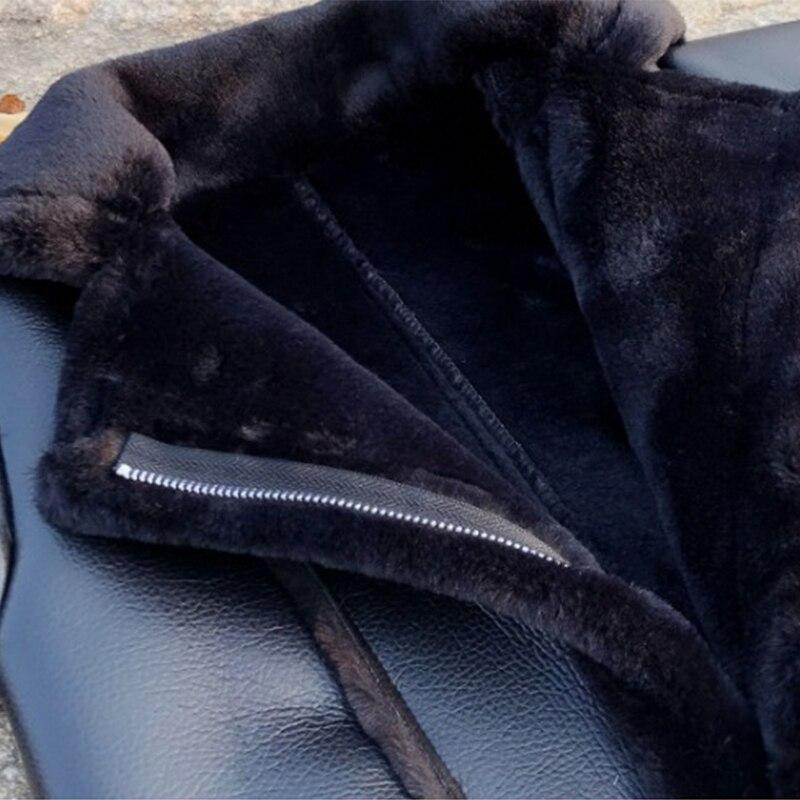 Hiver fille PU couture fausse fourrure veste enfants Plus velours chaud vêtements d'extérieur Modis adolescent Kdis Plus épais Parka agneau fourrure manteau Y2475 - 6