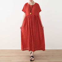 2018 Summer Women Shor Sleeve Print Dot Dress Cotton Long dress Vintage Lady Loose Beach Breath Dresses