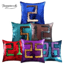 Fuwatacchi Mermaid Sequins Decorative Cushion Covers Color Reversible Sequin Pillow Cover For Home Sofa Chair Pillowcase 40*40cm
