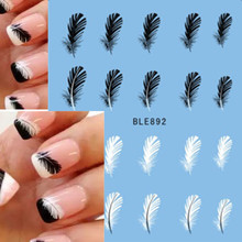 1pcs Beautiful Black White Feather Nail Art Decal Stickers Fashion Tips Decoration Watermark Nail Art Decor Tool TRBLE892/STZ