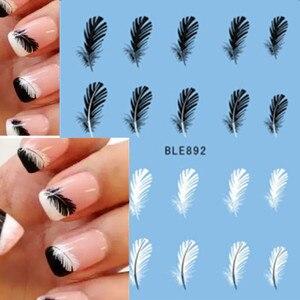 Image 1 - 1pcs Mooie Zwarte Witte Veer Nail Art Decal Stickers Fashion Tips Decoratie Watermerk Nail Art Decor Tool TRBLE892/ STZ