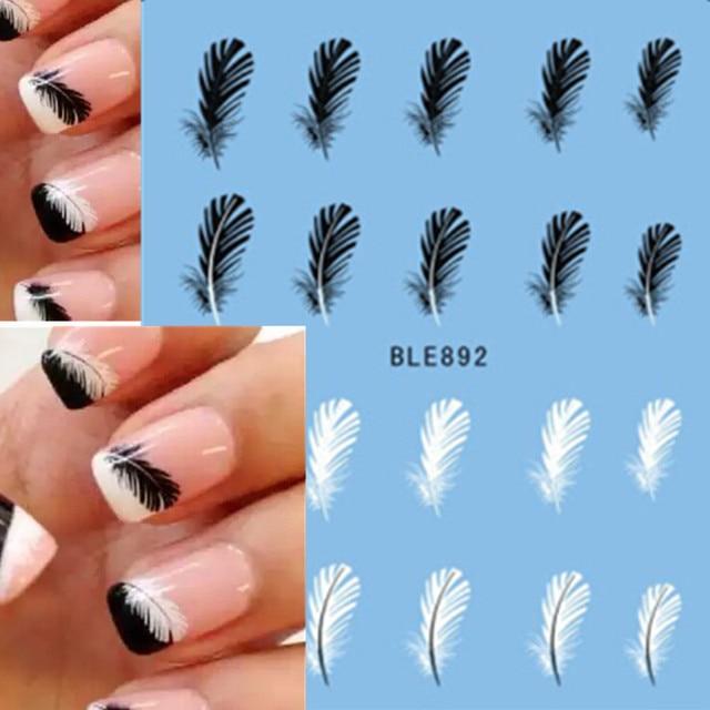 1pcs Mooie Zwarte Witte Veer Nail Art Decal Stickers Fashion Tips Decoratie Watermerk Nail Art Decor Tool TRBLE892/ STZ