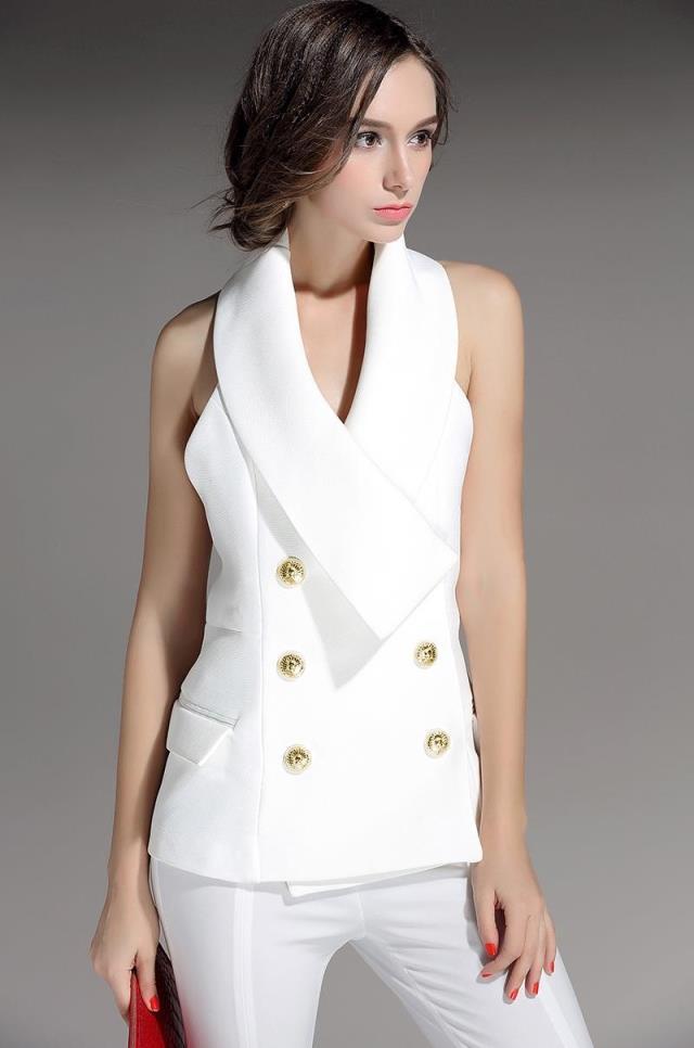Slim Gilet Tempérament Mujer blanc 2017 Sans Ms Femmes Noir Vente Breasted Type Nouvelles De Chalecos Costume Halter Veste Double Ol Manches Vent HgwqxInU