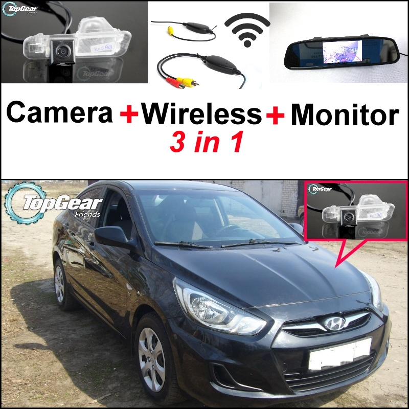 3 in1 Special Camera + Wireless Receiver + Mirror Monitor DIY Parking System For Hyundai Grand Avega Solaris Fluidic Verna Sedan wireless pager system 433 92mhz wireless restaurant table buzzer with monitor and watch receiver 3 display 42 call button