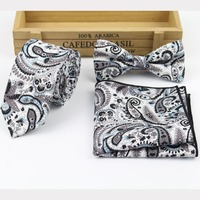 Flower-Rose-Paisley-Handkerchief-Butterfly-Bow-Tie-Ties-SET-1