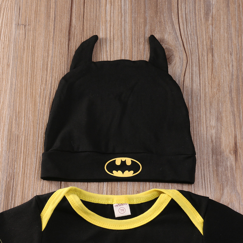 Summer Autumn Cute Batman Cotton Boys Rompers Printed Batman Baby Boys Clothes Rompers with Shoes Hat Black 0-24 Months 5