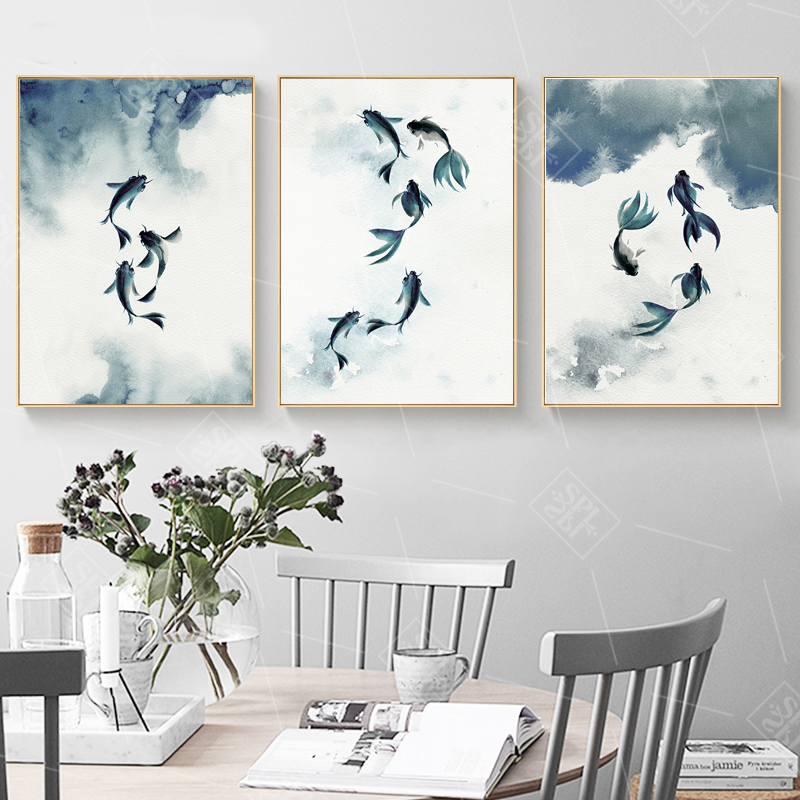 US $3.91 50% OFF Vintage Bedroom Decoration Posters Abstract Black and  White Ink Koi Fish Canvas Painting Hd Print Wall Artwork Picture No  Framed-in ...