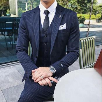 Luxury Fashion New Men Dress Suits Striped British Style Wedding Suit for Men Slim Fit Clothing Jacket + Waistcoat + Pant