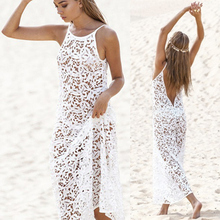 b43a28d620 Evaw 2019 Women Beach Swim Cover Up Bikini Coverup Kaftan Mesh Swimsuit Sexy  Sheer Dress White