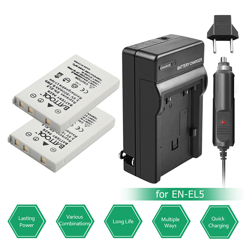 Bonadget Promotion 1400mAh 3.7V 2pcs EN EL5 Battery + Charger for Nikon Coolpix P500 P510 P520 P530 P80 P90 P100