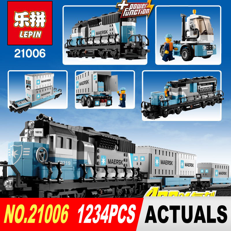 ФОТО NEW LEPIN 21006 1234pcs Maersk Container Train Compatible 10219 Boys and Girls Gift