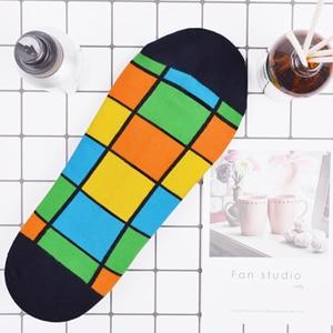 Image 2 - SANZETTI 16 ペア/ロットカジュアルなノベルティの男性カラフルな夏コーマ綿の足首のソックスチェック柄ストライプ幾何涼しいドレスボートソックス