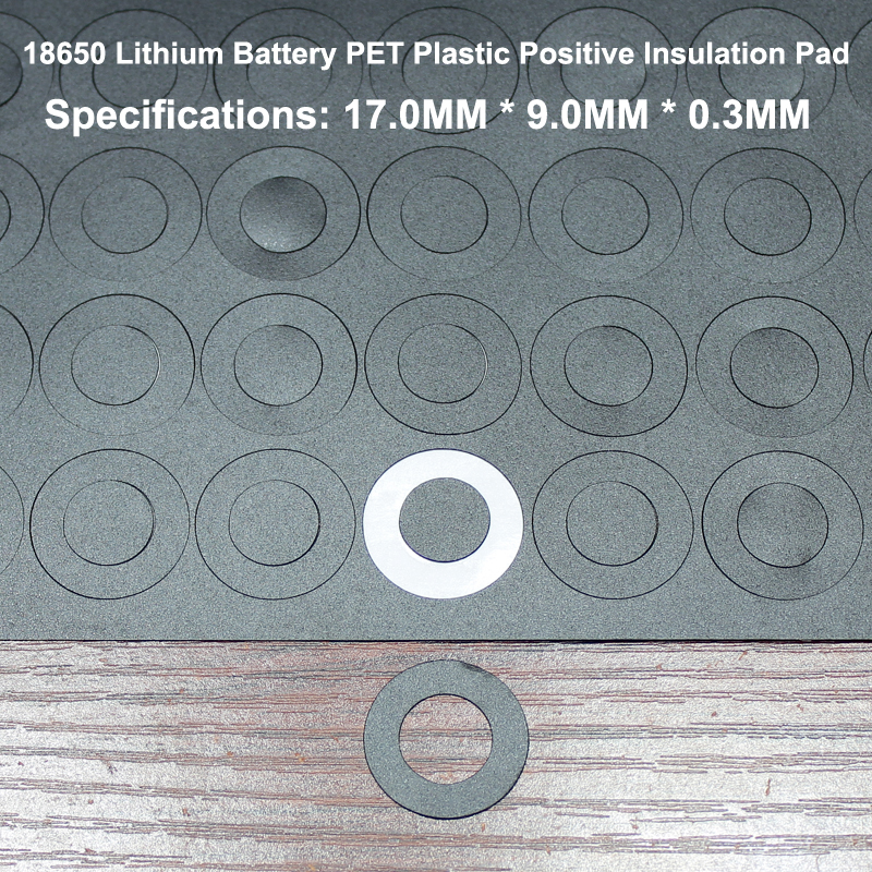 100pcs lot Lithium battery 18650 positive hollow insulating pad red flat tip insulated surface mat meson