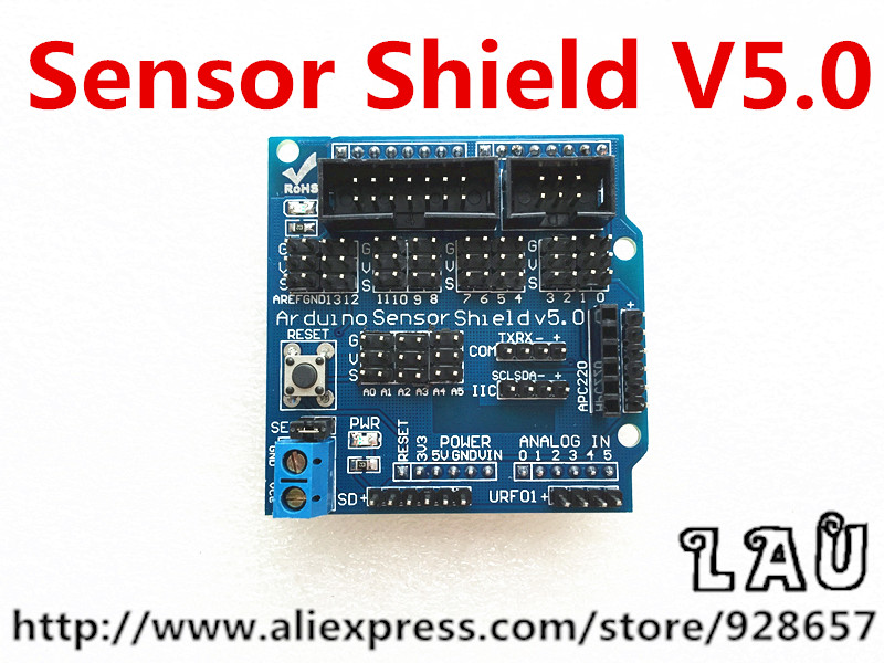 Free shipping 10pcs/lot Sensor Shield V5.0 sensor expansion board for Arduino electronic building blocks of robot parts