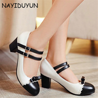 NAYIDUYUN Summer Fashion Women Low Top Patent Leather Mary Janes Shoes Cuban High Heels Evening Party Pumps Casual Office Shoes