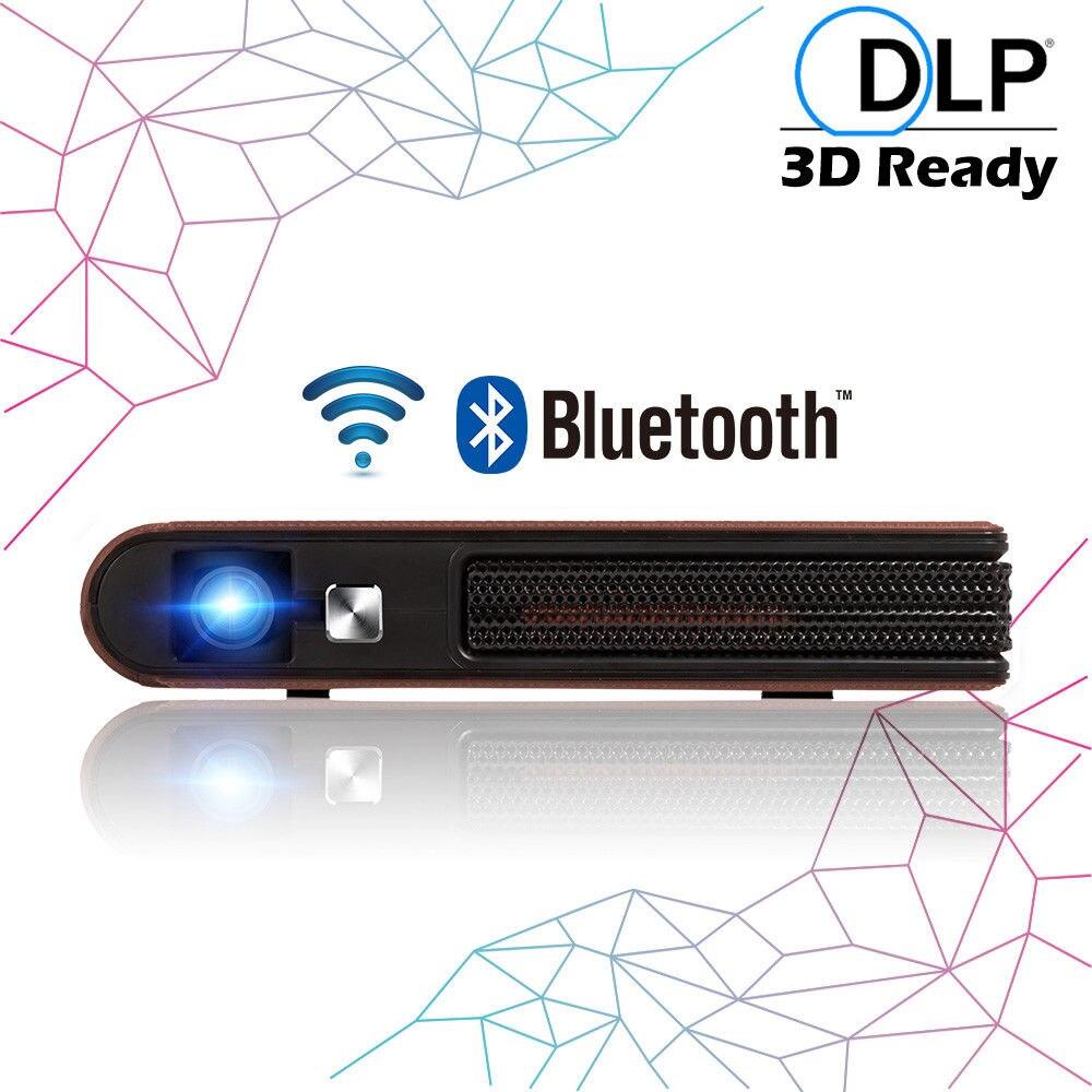 CAIWEI Portable DLP 3D mini projecteur Android 5.1 Bluetooth WIFI Home Cinéma Proyector HD Vidéo Beamer Films Jeu HDMI USB