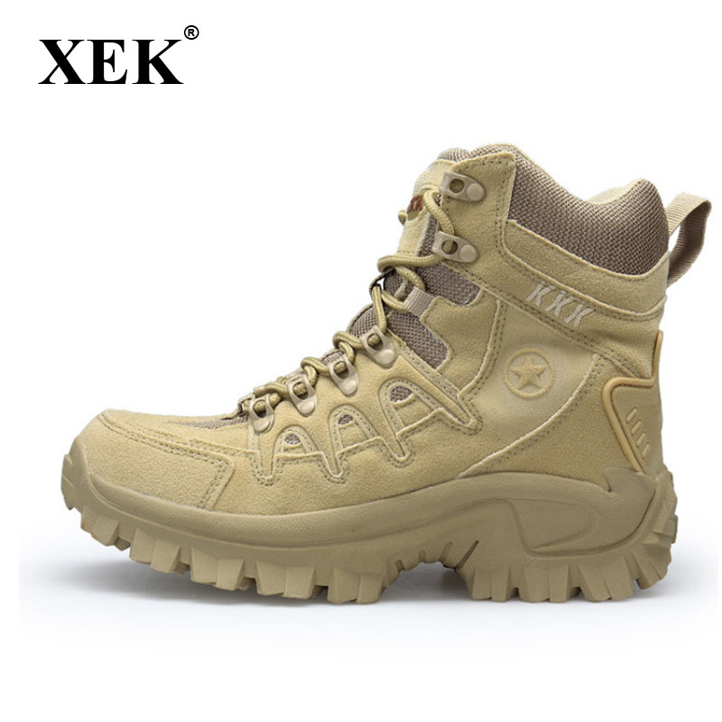 XEK Winter Autumn Men High Quality Military Leather Boots Special Force Tactical Desert Combat Boats Outdoor