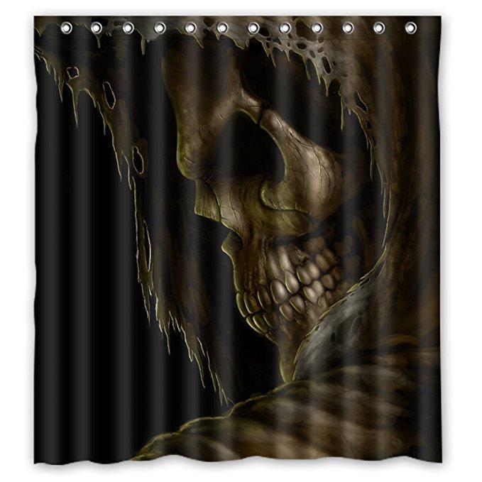 Halloween Shower Curtain,Devil Bathroom Curtain,Skull