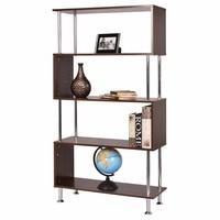 Goplus 32x12x58 4 Shelf Bookcase Wooden Modern Bookshelf Storage Display Unit Furniture Home Cabinets Display Rack HW52820
