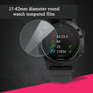 Image 3 - 100pcs 9H 2.5D Tempered glass 30mm 42mm Round watch Smart SportWatch Protective Glass film Screen Protector For mi Lenovo Garmin