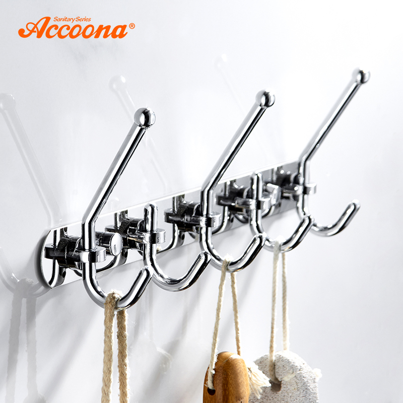 Accoona Bath Towel Hooks Metal Wall Hanging Hooks Room Clothes Rack Towel Hook Clothing Shelves Nail Hole Hook Up A161