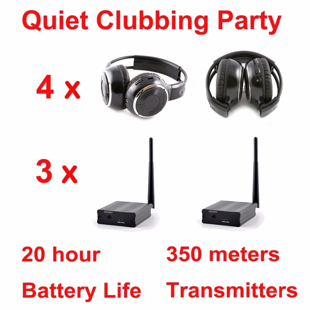Silent Disco compete system black folding wireless headphones – Quiet Clubbing Party Bundle (4 Headphones + 3 Transmitters)