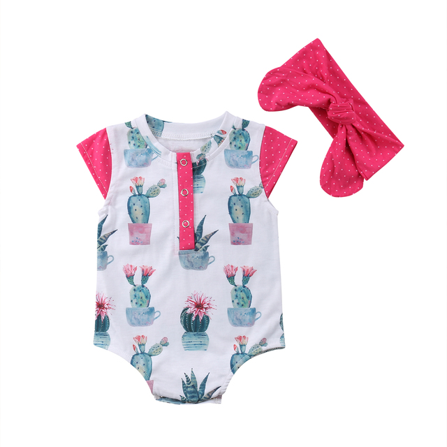 4f6280cfb Newborn Infant Baby Girl Cactus Button Romper Jumpsuit + Headband Outfits  Clothes