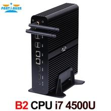 Причастником B2 безвентиляторный Мини-ПК компьютер Intel Core I7 4500u WIN10 WIN8 WIN7 бесплатная Wi-Fi HDMI 2 * lan
