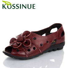2016 Genuine leather flowers open toe female sandals flat slip-resistant casual sandals shoes for women flat sandals size(35-41)