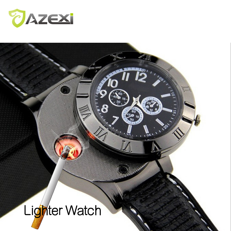 USB Lighter Watch Men s Military Recharge Hot sports Casual Wristwatches with Windproof Flameless Cigarette Lighter