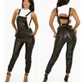 Fashion Sexy Catsuit Clubwear For Women 2016 Factory Price New Hot Black Punk Front Ladies Bodysuit Jumpsuit  W84437