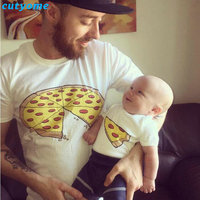 Matching Mother Father Daughter Son Clothes T Shirt Fashion Pizza Short Sleeve Baby Boys Girls T
