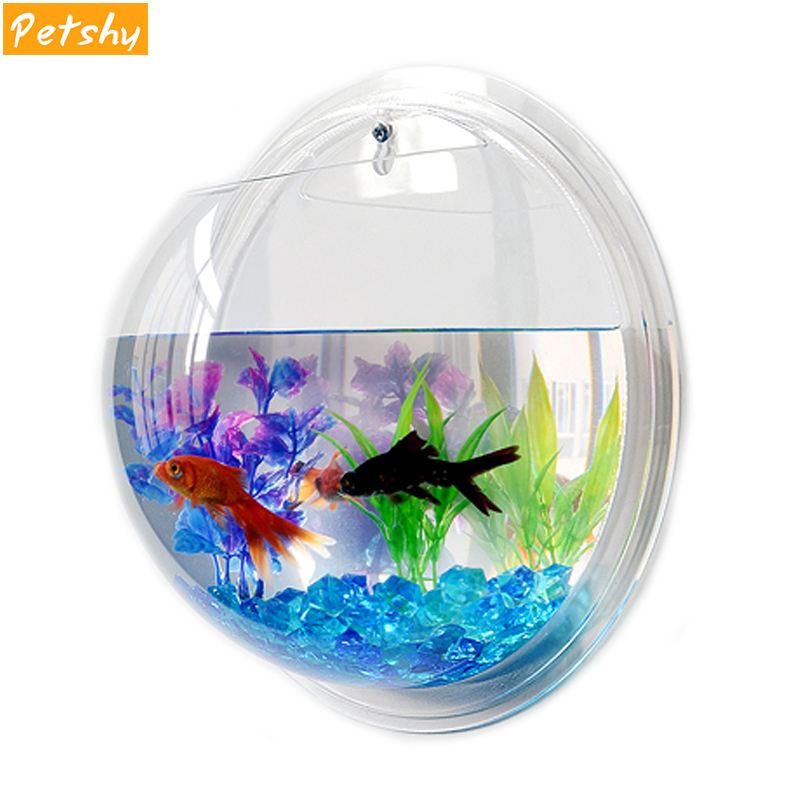 Petshy Fish Tank Wall Hanging <font><b>Aquarium</b></font> <font><b>Round</b></font> Acrylic Pot Plant Wall Mounted Bowl <font><b>Aquarium</b></font> Home Decoration Aquatic Pet Supplies image