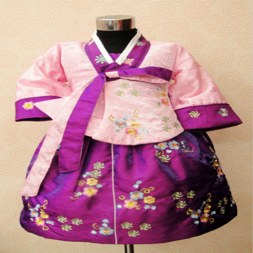 Spring and autumn Girls long-sleeve princess dress Korean children's clothing girls' hanbok performance dancing dresses 80-130cm foreign trade adicolo digital printing princess dress girls korean princess dress