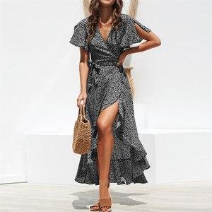 Image 4 - HiloRill Vestido largo de verano con estampado Floral para mujer, traje largo bohemio con volantes, cuello en V, informal, dividido