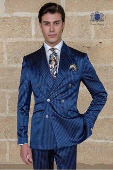 Fashionable Double Breasted Blue Strips Groom Tuxedos Groomsmen Peak Lapel Mens Suits Blazers (Jacket+Pants+Tie) W:958