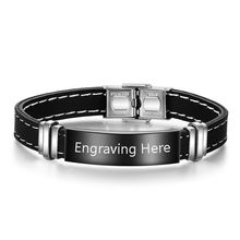 Personalized Black Bracelets for Men Name Engraved Silicone Gel & Bangles Fashion Jewelry Gift (BA102314)