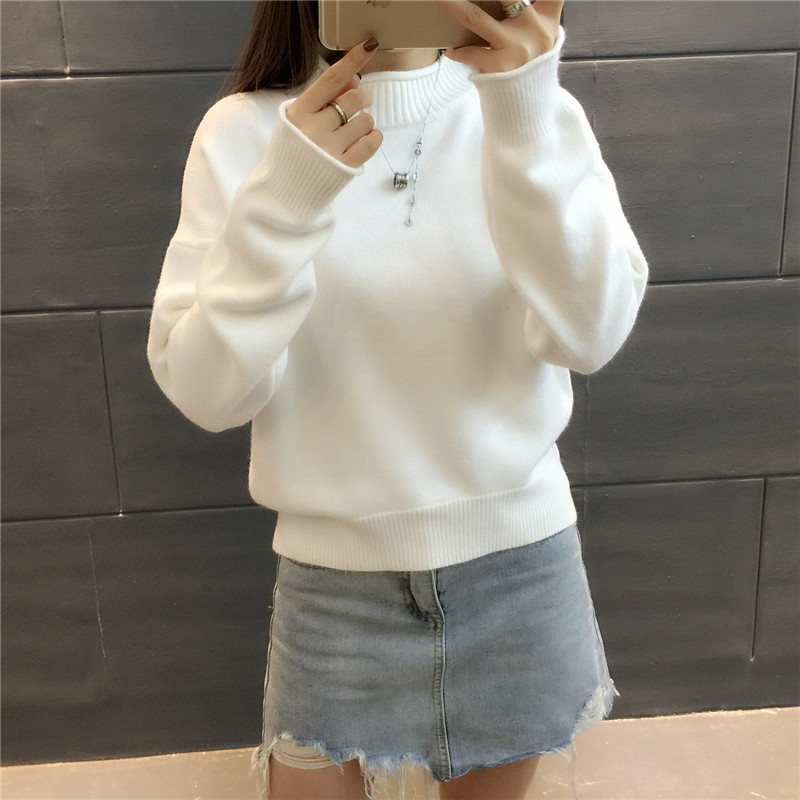 2018 Sweater women s Spring and winter short sets of sets of semi - high collar long - sleeved thick bottomed wild