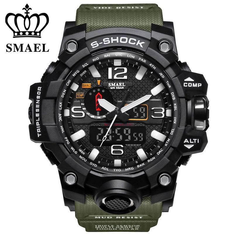 SMAEL Brand Dual Display Wristwatches Military Alarm Quartz Clock Male Gift S Shock Men's Sports Watch for Men Hours relogio