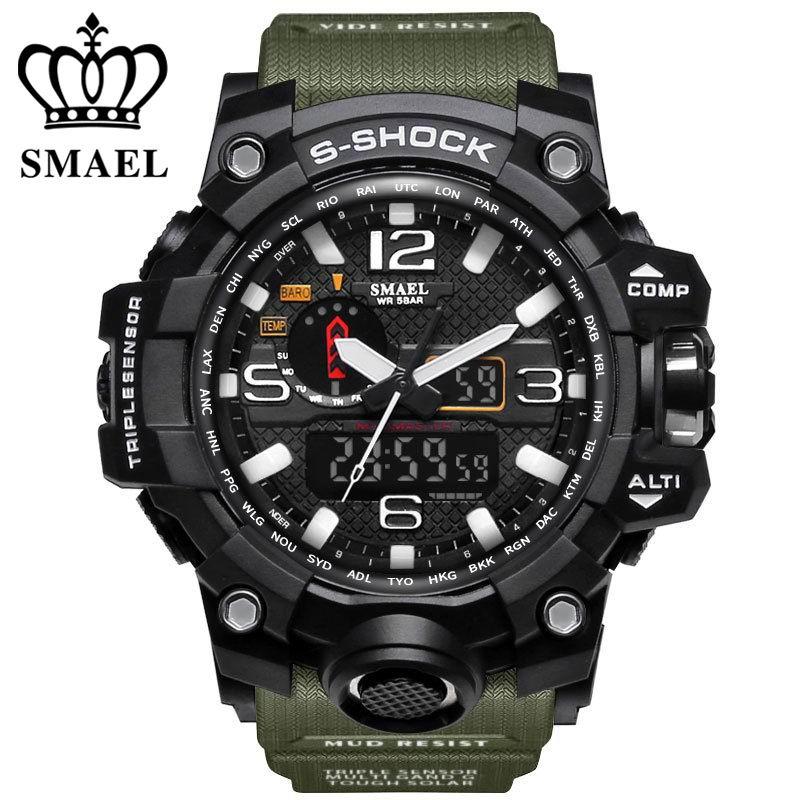 Prix pour SMAEL Marque Double Affichage Montres Militaire Alarme Quartz Horloge Mâle Cadeau Étanche Hommes de Montre de Sport pour Hommes Heures relogio