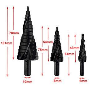 Image 5 - 3 قطعة 4 32 مللي متر HSS الكوبالت خطوة مجموعة لقمة مثقاب النيتروجين عالية السرعة الصلب دوامة للمعادن مخروط مثلث عرقوب ثقب القاطع