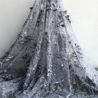 5yards 3D lace fabric with Ostrich feather, nude heavy bead lace fabric for haute couture dress F58 2