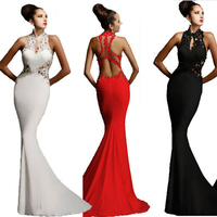 2017 Sexy Sleeveless Lady Dress Wedding Bridesmaid Long Evening Formal Party Cocktail Dress Mermaid Party Dress