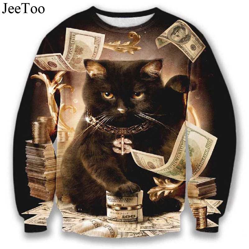 JeeToo 3D Cat Men Hoody Casual Animal Print Mens Sweatshirts Fashion Long Sleeve Male Hoodies Titanic Cats And Money Cat Hoody