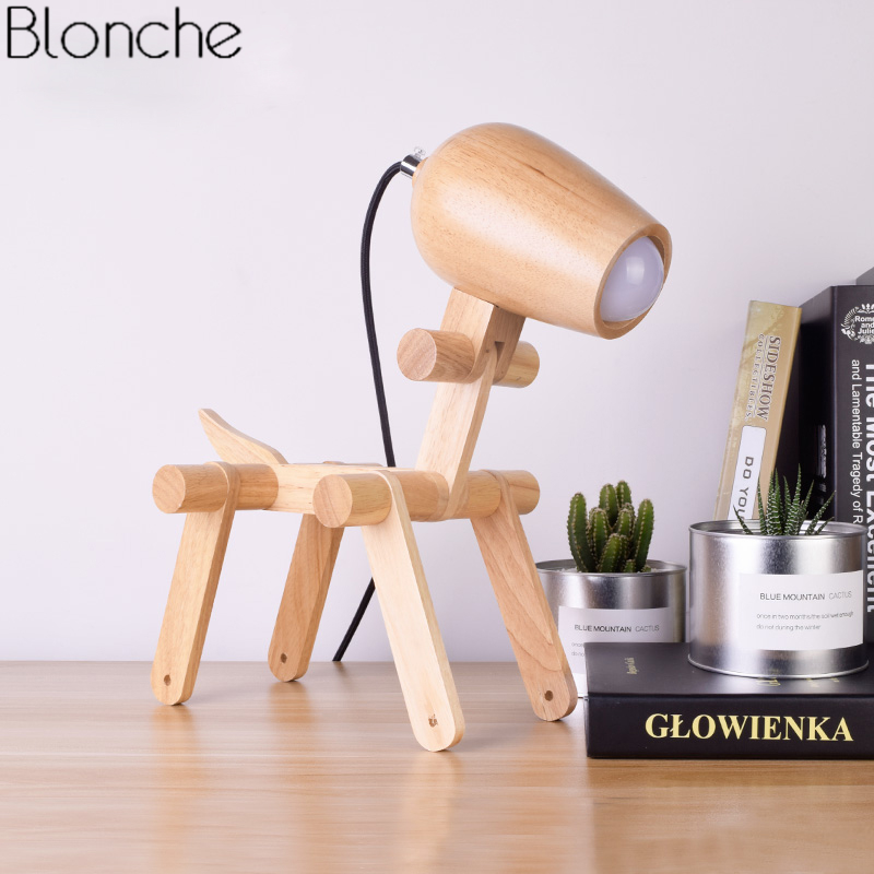 Nordic Creative <font><b>Dog</b></font> Wood <font><b>Table</b></font> <font><b>Lamp</b></font> Modern Led Stand Wooden Foldable Desk Light for Bedroom Study Home Decor Fixtures Luminaire image