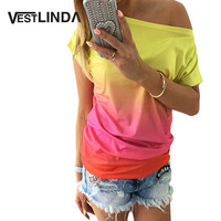 2016 New Summer Women Tops Fashion Femal O Neck Ombre Print Shirts Short Sleeve Gradient Color