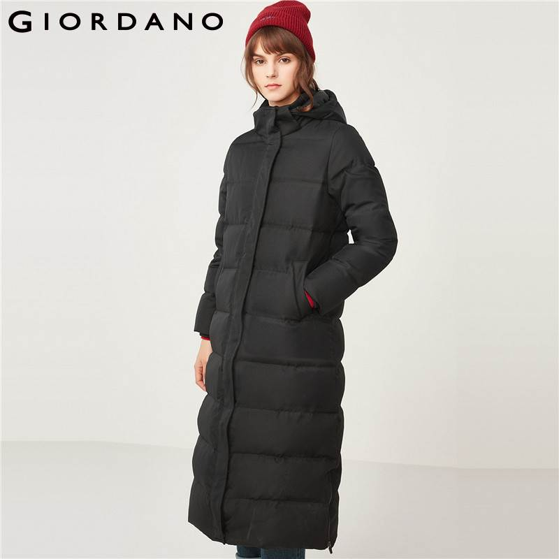 Giordano Women 90%   Down   Jacket Hooded Waterproof Winter   Coat   For Women Long Length   Down   Filled Ropa Mujer Invierno 2018
