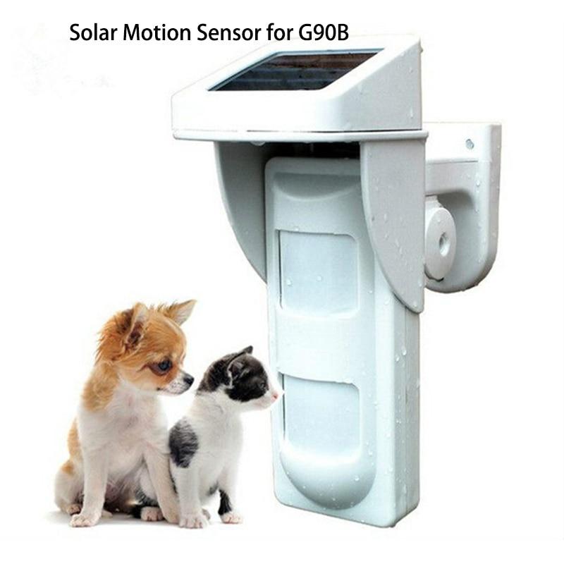 WIFI Alarm G90B Outdoor Motion Sensor Solar Powered External Weatherproof Pet Friendly PIR Detector with 2